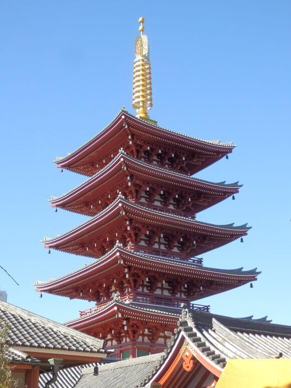 東京都旅行観光浅草寺五重塔